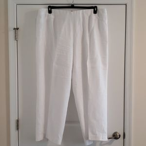 White 100% Linen wide leg pants w/ slit pockets